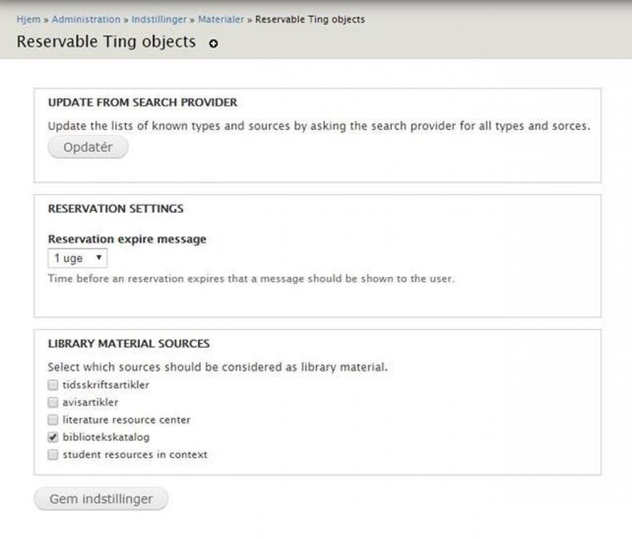 screenshot af reservable ting objects i backend